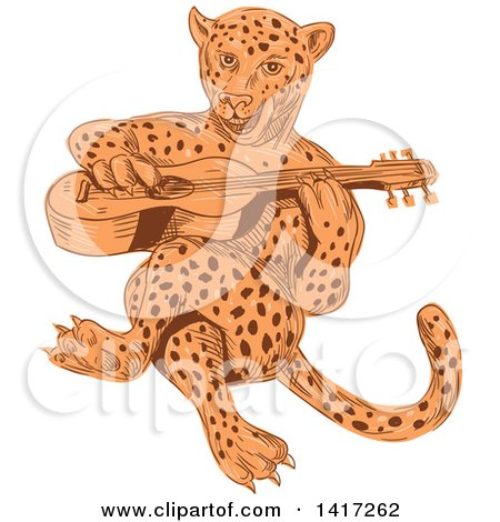 Clipart of a Sketched Jaguar Cat Playing a Guitar - Royalty Free Vector Illustration by patrimonio