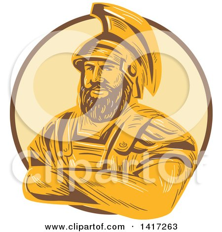Clipart of a Sketch of Agamemnon, King of Mycenae, with Folded Arms in a Circle - Royalty Free Vector Illustration by patrimonio