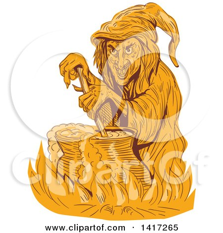 Clipart of a Sketched Orange Witch Stirring Her Brew in a Cauldron - Royalty Free Vector Illustration by patrimonio