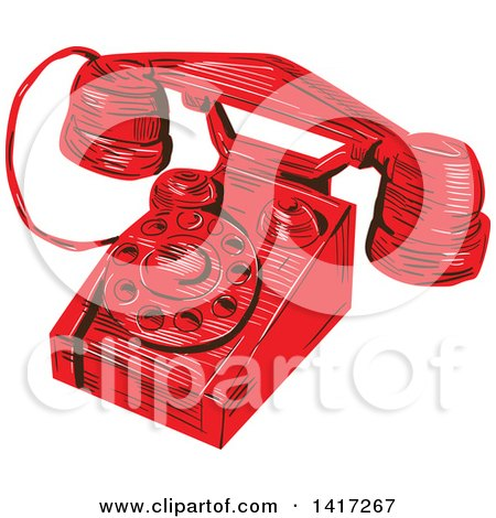 Clipart of a Sketched Red Vintage Telephone - Royalty Free Vector Illustration by patrimonio