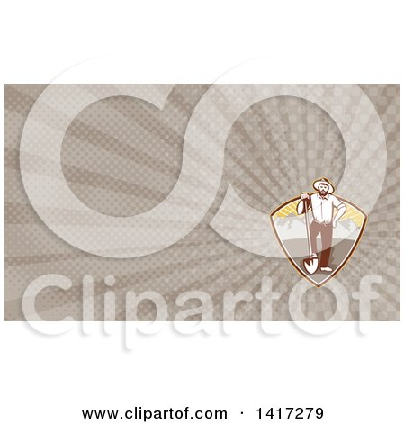 Clipart of a Retro Prospector with a Shovel and Rays Background or Business Card Design - Royalty Free Illustration by patrimonio