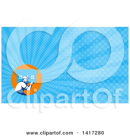 Clipart of a Retro Male Mover Carrying a House and Blue Rays Background or Business Card Design - Royalty Free Illustration by patrimonio