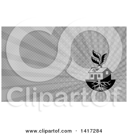 Clipart of a House with Roots and Leaves Through the Chimney and Gray Rays Background or Business Card Design - Royalty Free Illustration by patrimonio