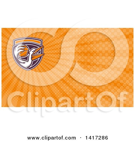 Clipart of a Retro Pelican Bird Holding a Basketball and Orange Rays Background or Business Card Design - Royalty Free Illustration by patrimonio