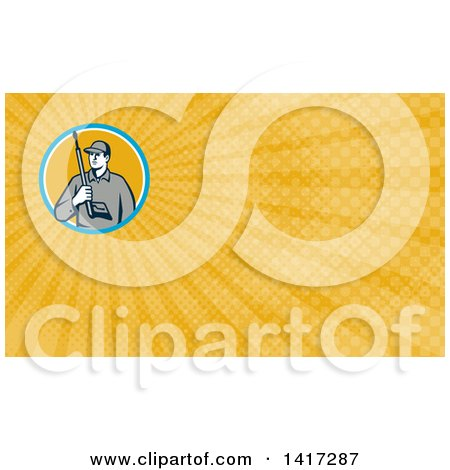 Clipart of a Retro Male Pressure Washer Worker Holding a Washing Gun and Yellow Rays Background or Business Card Design - Royalty Free Illustration by patrimonio