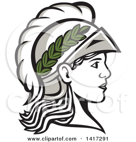 Clipart of a Profile Portrait of the Roman Goddess of Wisdom, Minerva or Menrva, Wearing a Helmet and Laurel Crown - Royalty Free Vector Illustration by patrimonio