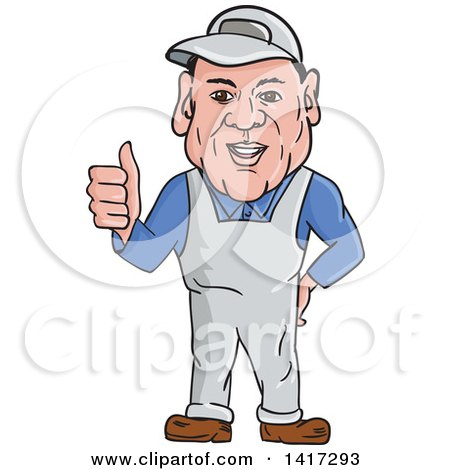 Clipart of a Cartoon Male Oven Cleaner Technician in Overalls, Giving a Thumb up - Royalty Free Vector Illustration by patrimonio
