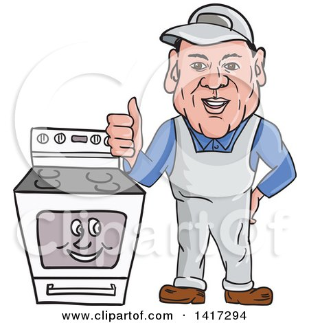 Clipart of a Cartoon Male Oven Cleaner Technician Standing by a Range and Giving a Thumb up - Royalty Free Vector Illustration by patrimonio