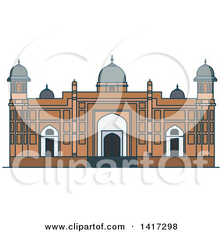 Clipart of a Bangladesh Landmark, Lalbagh Fort - Royalty Free Vector Illustration by Vector Tradition SM