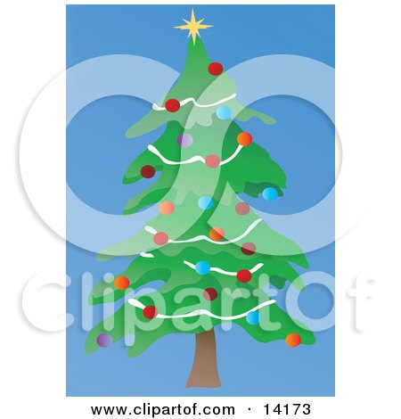 Christmas Tree Decorated With Colorful Bauble Ornaments, Garland and a Star Clipart Illustration by Rasmussen Images
