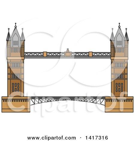 Clipart Of A Great Britain Landmark Tower Bridge Royalty Free