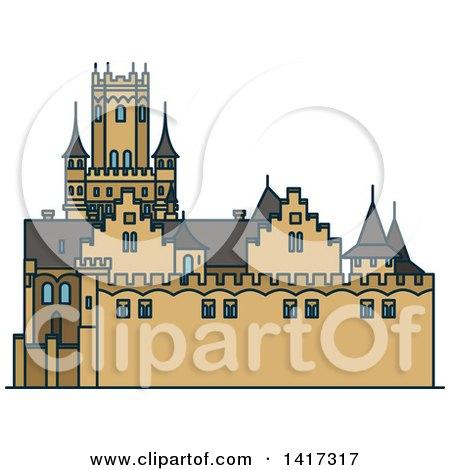 Clipart of a German Landmark, Marienburg Castle - Royalty Free Vector Illustration by Vector Tradition SM
