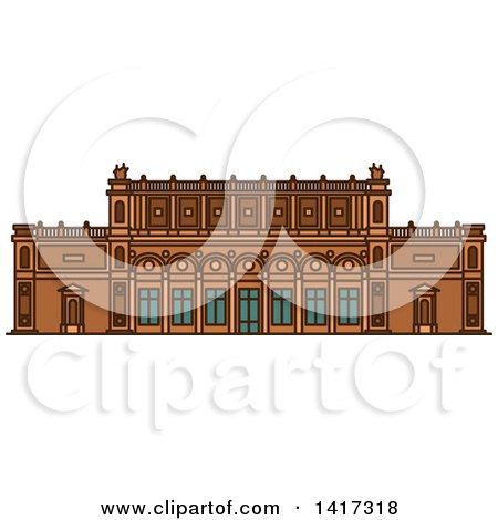 Clipart of a German Landmark, Kunsthalle Museum - Royalty Free Vector Illustration by Vector Tradition SM