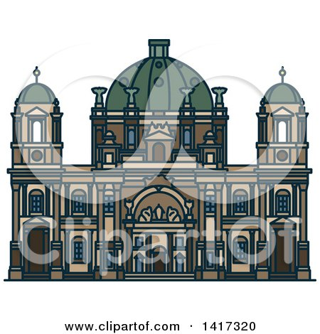 Clipart of a German Landmark, Berlin Cathedral Church - Royalty Free Vector Illustration by Vector Tradition SM