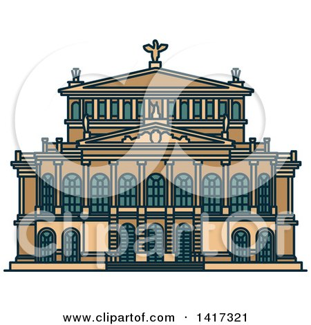 Clipart of a German Landmark, Alte Oper Concert Hall - Royalty Free Vector Illustration by Vector Tradition SM