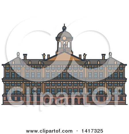 Clipart of a Dutch Landmark, Royal Palace in Amsterdam - Royalty Free Vector Illustration by Vector Tradition SM