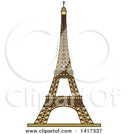 Clipart The Eiffel Tower With Shrubs And Blue - Royalty Free ...