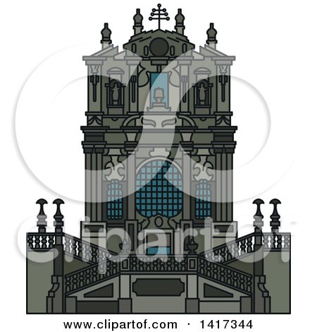 Clipart of a Portugal Landmark, Clerigos Church - Royalty Free Vector Illustration by Vector Tradition SM