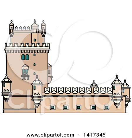 Clipart of a Portugal Landmark, Belem Tower - Royalty Free Vector Illustration by Vector Tradition SM