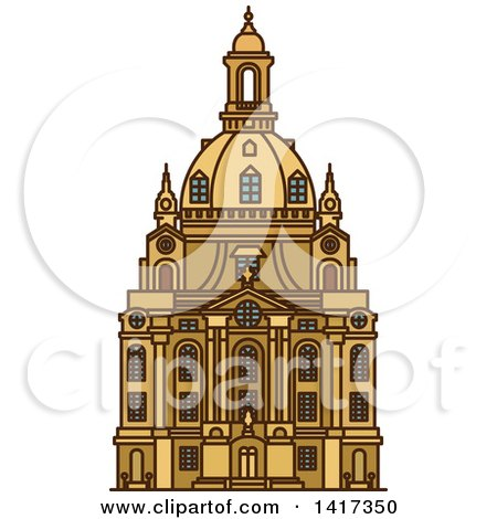 Clipart of a German Landmark, Frauenkirche - Royalty Free Vector Illustration by Vector Tradition SM