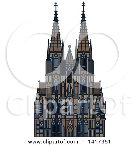 Clipart of a German Landmark, Cologne Cathedral - Royalty Free Vector Illustration by Vector Tradition SM