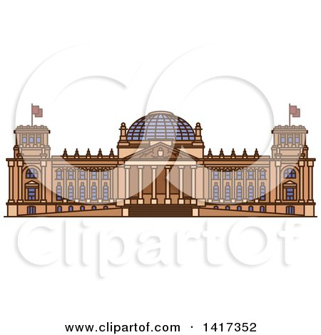 Clipart of a German Landmark, Reichstag - Royalty Free Vector Illustration by Vector Tradition SM