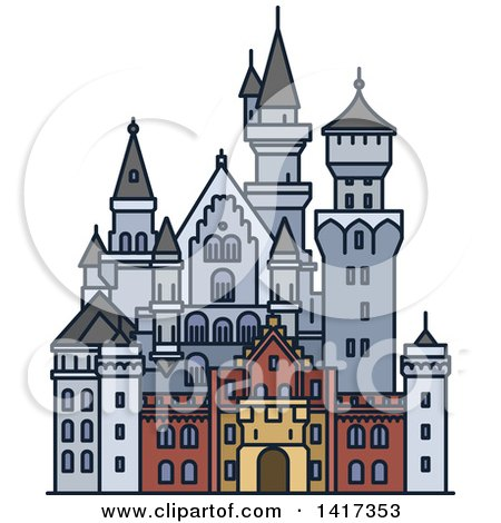 Clipart of a German Landmark, Neuschwanstein Castle - Royalty Free Vector Illustration by Vector Tradition SM