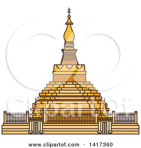 Clipart of a Burma Landmark, Shwezigon Pagoda - Royalty Free Vector Illustration by Vector Tradition SM