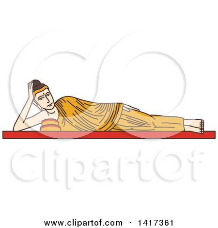 Clipart of a Burma Landmark, Statue of Reclining Buddha - Royalty Free Vector Illustration by Vector Tradition SM