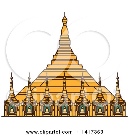 Clipart of a Burma Landmark, Uppatasanti Pagoda - Royalty Free Vector Illustration by Vector Tradition SM