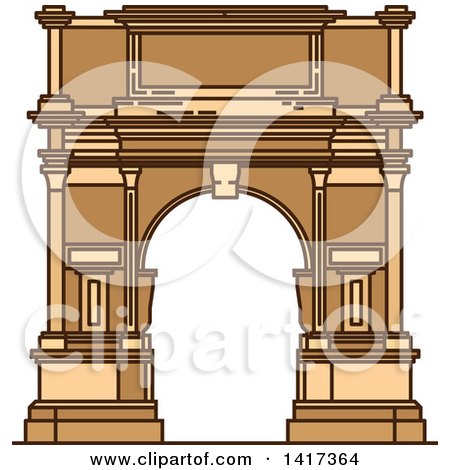 Clipart of a Italian Landmark, Ancient Arch of Titus - Royalty Free Vector Illustration by Vector Tradition SM
