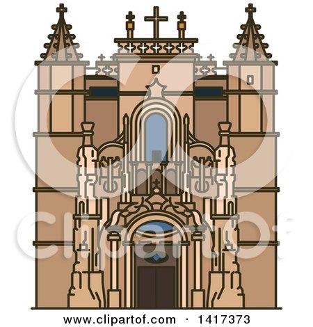 Clipart of a Portuguese Landmark, Santa Cruz Monastery - Royalty Free Vector Illustration by Vector Tradition SM