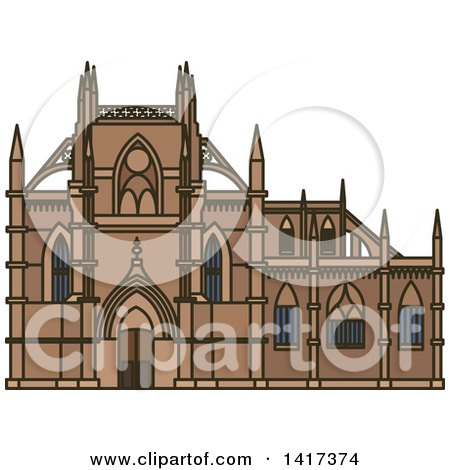 Clipart of a Portuguese Landmark, Monastery of Batalha - Royalty Free Vector Illustration by Vector Tradition SM