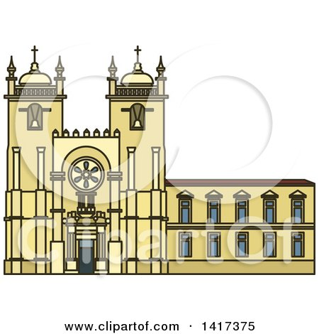 Clipart of a Portuguese Landmark, Porto Cathedral - Royalty Free Vector Illustration by Vector Tradition SM