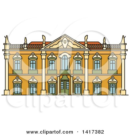 Clipart of a Portuguese Landmark, Palace of Queluz - Royalty Free Vector Illustration by Vector Tradition SM