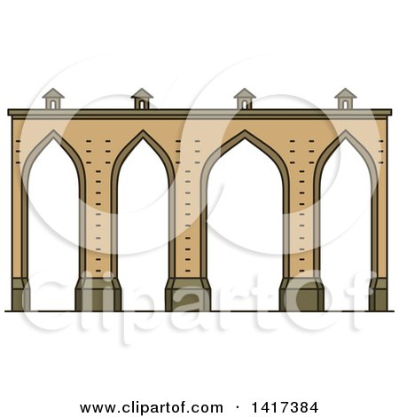 Clipart of a Portuguese Landmark, Lisbon Aqueduct - Royalty Free Vector Illustration by Vector Tradition SM