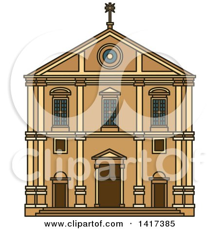 Clipart of a Portuguese Landmark, Church of Saint Roch - Royalty Free Vector Illustration by Vector Tradition SM