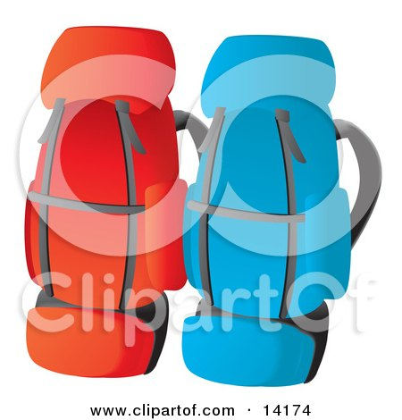 Red and Blue Backpacks Posters, Art Prints