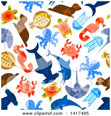 Clipart of a Seamless Background Pattern of Sea Creatures - Royalty Free Vector Illustration by Vector Tradition SM