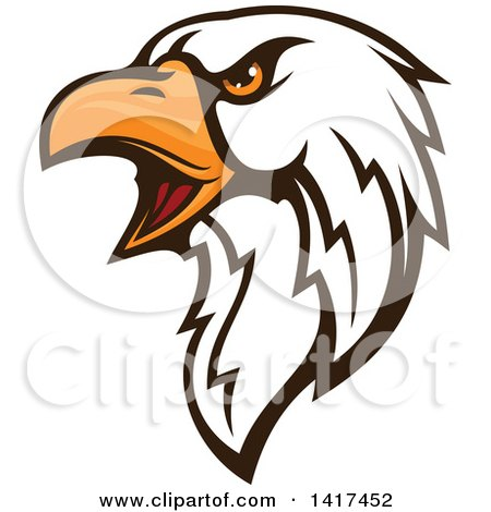 Clipart of a Firece Bald Eagle Head with Orange Eyes - Royalty Free Vector Illustration by Vector Tradition SM