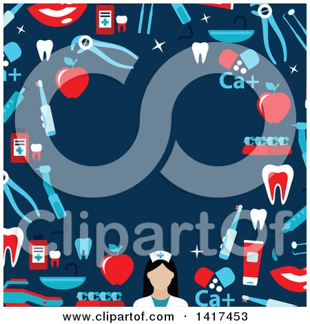 Clipart of a Border Frame of Dental Icons over Blue - Royalty Free Vector Illustration by Vector Tradition SM