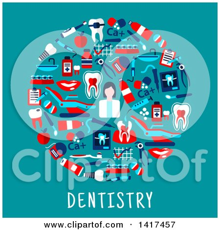 Clipart of a Circle Made of Dental Icons with Text - Royalty Free Vector Illustration by Vector Tradition SM