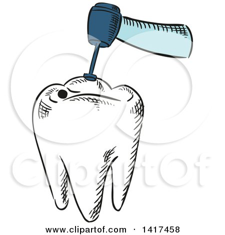 Clipart of a Tooth Getting Dental Work Done - Royalty Free Vector Illustration by Vector Tradition SM
