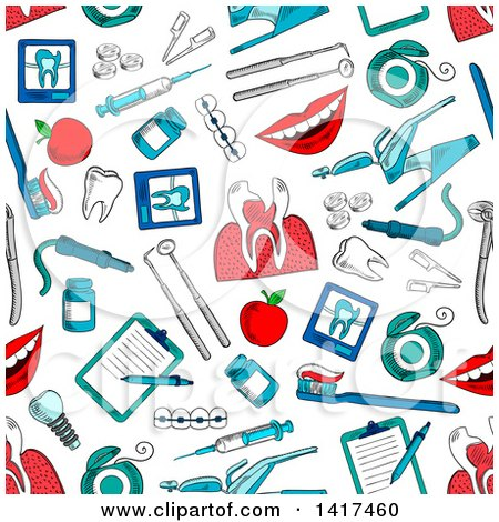 Clipart of a Seamless Background Pattern of Dental Items - Royalty Free Vector Illustration by Vector Tradition SM