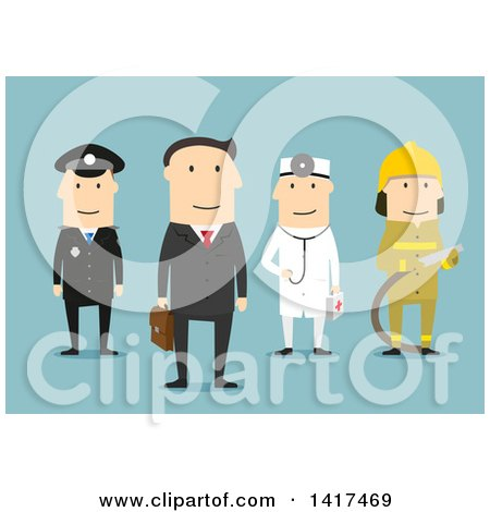 Clipart of a Flat Design Group of Men of Different Professions, on Blue - Royalty Free Vector Illustration by Vector Tradition SM