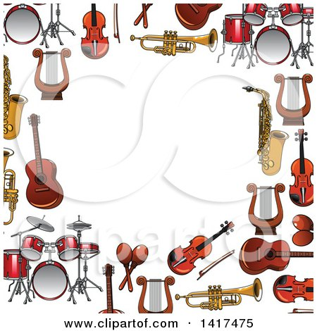Clipart of a Border Frame of Instruments - Royalty Free Vector Illustration by Vector Tradition SM