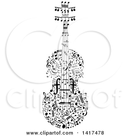 Clipart of a Violin Made of Music Notes - Royalty Free Vector Illustration by Vector Tradition SM