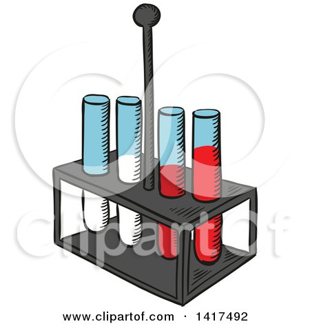 Clipart of a Tray with Test Tubes - Royalty Free Vector Illustration by Vector Tradition SM
