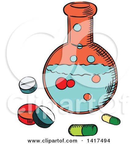Clipart of a Sketched Science Flask and Pills - Royalty Free Vector Illustration by Vector Tradition SM