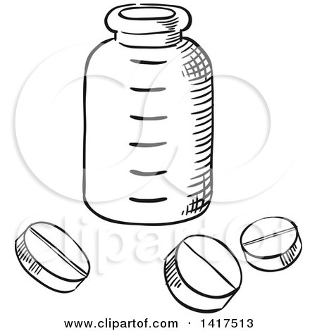 Clipart of a Sketched Bottle and Pills - Royalty Free Vector Illustration by Vector Tradition SM